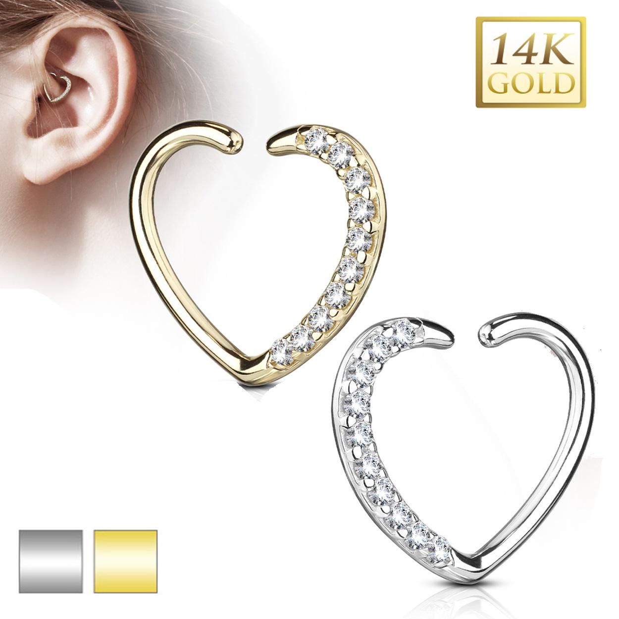 Echt Gold 585 14 Karat Herz Schmuck Ohr Piercing Ring Cartilage ...